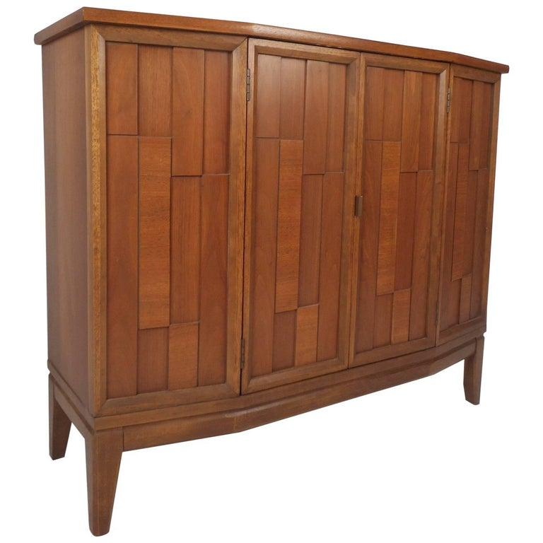 Petite Vintage Modern Brutalist Front Credenza or Storage Cabinet
