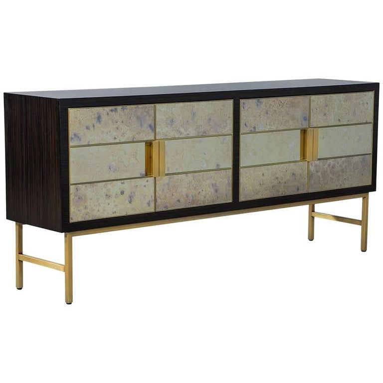 Carrocel Custom Modern Walnut Mirrored Door Sideboard Buffet Console