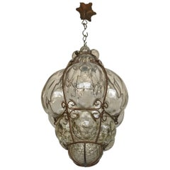 Antique and Rare Venetian Mouth Blown Glass in Metal Frame Pendant Light
