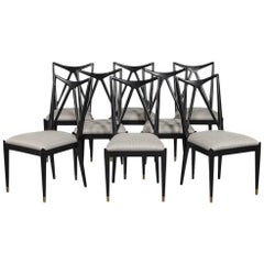 Set of Eight Chavet Mid-Century Modern Inspired Dining Chairs