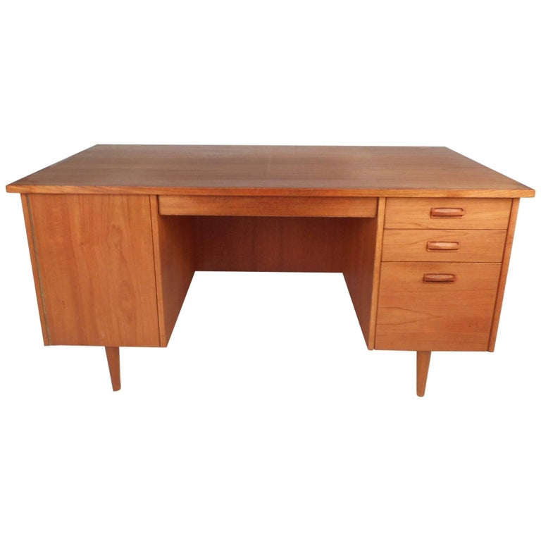 Large Midcentury Danish Teak Desk with a Finished Back