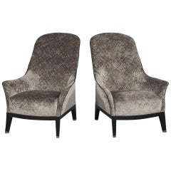 Pair of Gorgeous High Back Lounge Chairs