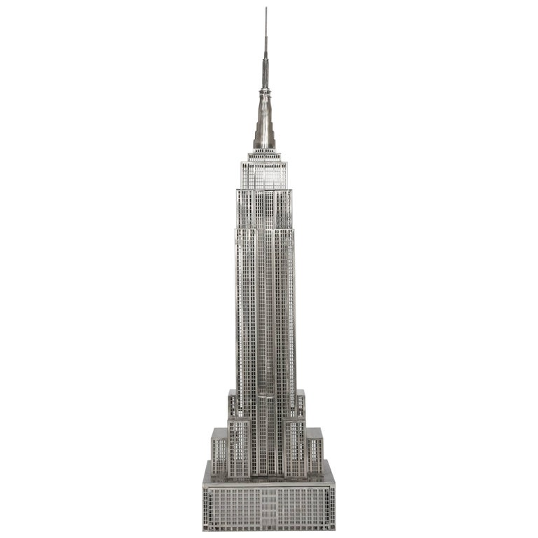 Lighted Steel Sculpture of the Empire State Building For Sale
