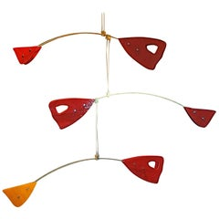 Murano Glass Brass Mobile Chandelier Red and Yellow Glass Elements