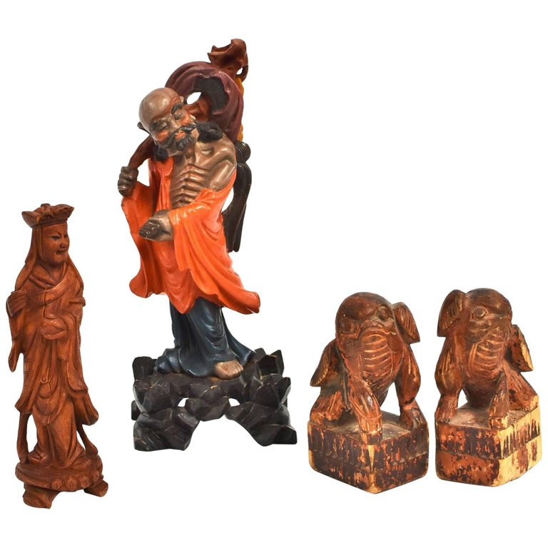 Lot of Four Antique and Vintage Chinese Wood Sculptures, Hand-Carved