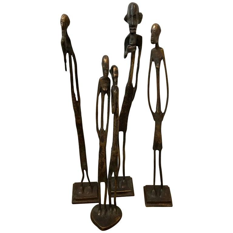 Four Brutalist Bronze Abstract African Figural Sculptures, Mid-Century Modern