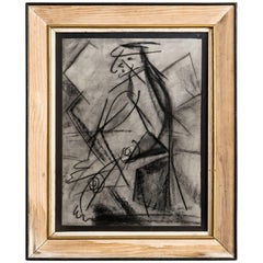Charcoal Figural Drawing circa 1945 by Cahlas
