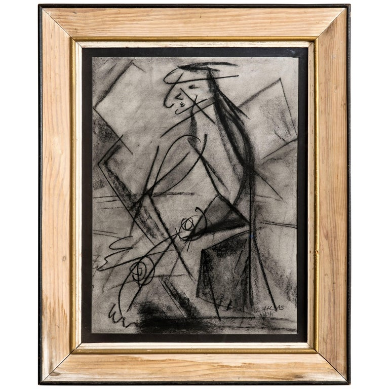 Charcoal Figural Drawing circa 1945 by Louis Atlas For Sale