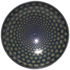 Large Japanese Porcelain Centerpiece Green Blue by Master Artist (1931-2009)