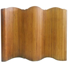 French Room Divider Wood Roll up Screen by S.N.S.A Midcentury Art Deco