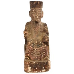 19th Century Taoist Master Wood Statue