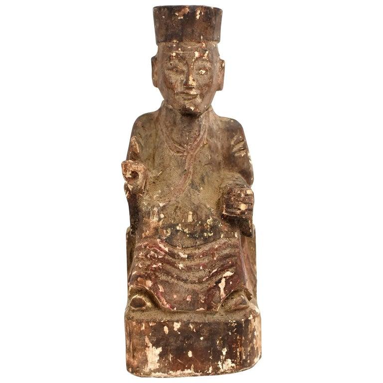 19th Century Taoist Master Wood Statue For Sale