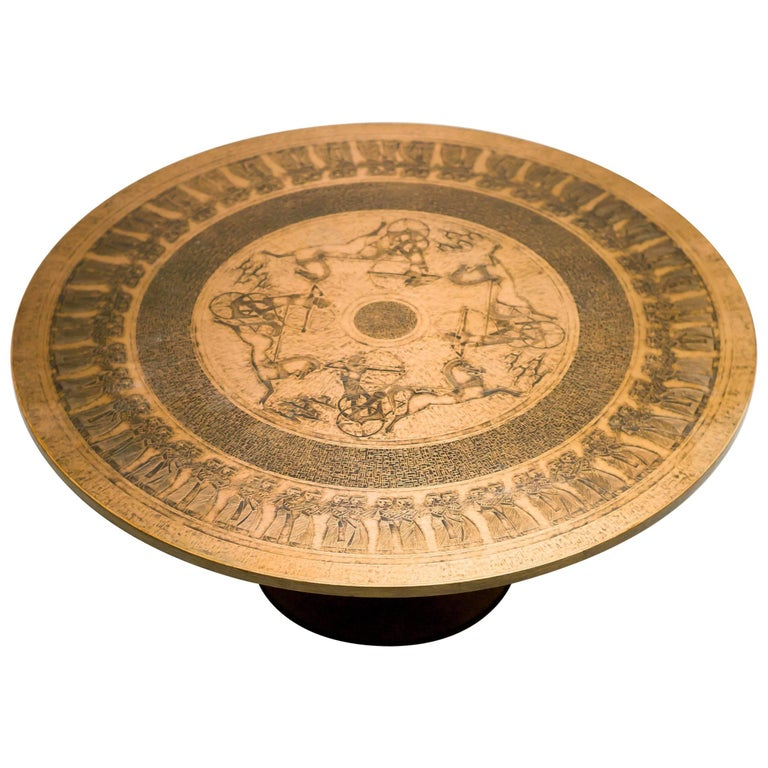 Spectacular Embossed Brass Coffee Table