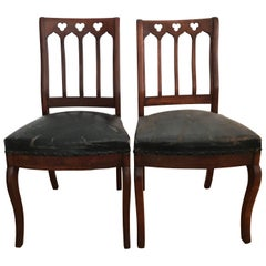 Pair of Walnut Gothic Revival Hall Chairs