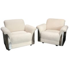 Pair of Italian Armchairs with New Upholstery and Chromed Steel Bases