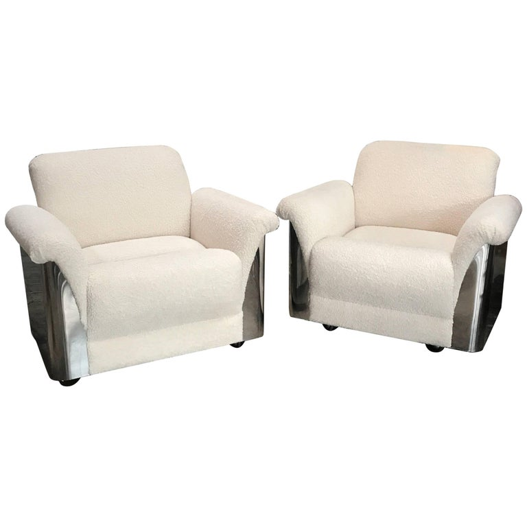 Pair of Italian Armchairs with New Upholstery and Chromed Steel Bases For Sale