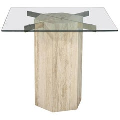 Modern Travertine Occasional Breakfast Table