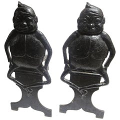 """Brownie"" Character Andirons, Early 20th Century"