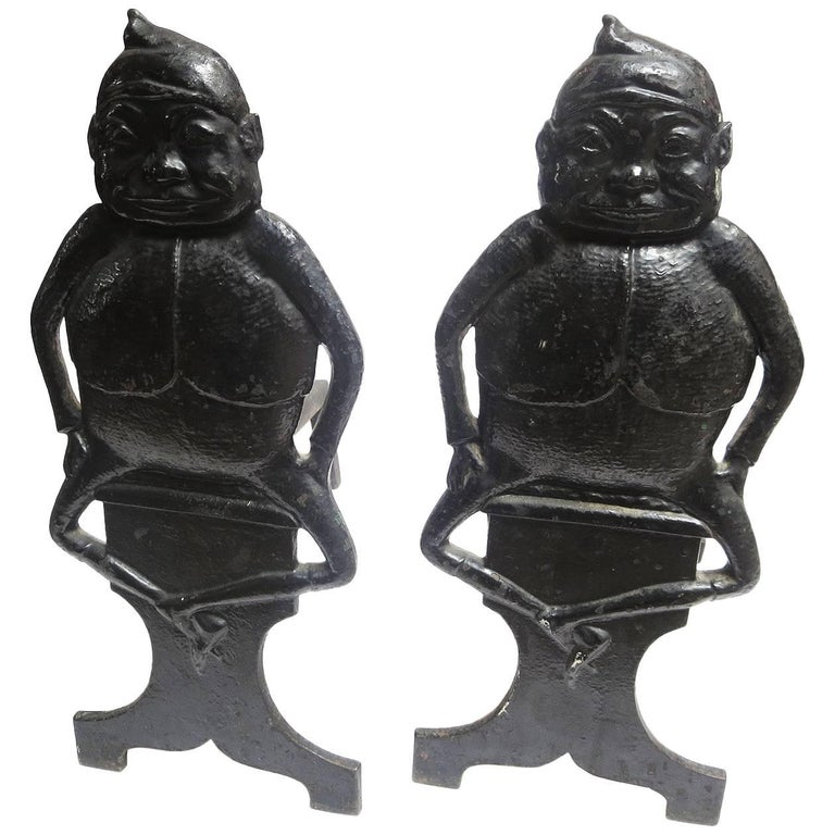 """""""Brownie"""" Character Andirons, Early 20th Century For Sale"""