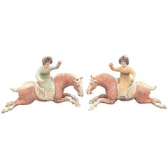 Pair of Tang Dynasty Horses with Female Polo Players