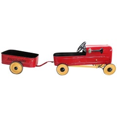 English 'Duke' Childs Pedal Car by Triang & Tri Trailer for Prop Display or Use