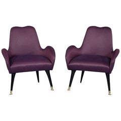 Vintage Italian Zanuso Style Purple Parlor Chairs