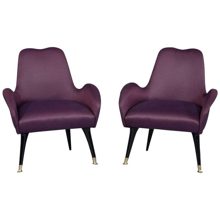Vintage Italian Zanuso Style Purple Parlor Chairs