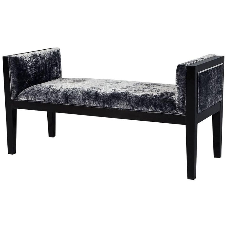 Mid-Century Modern Black Lacquered Bench For Sale