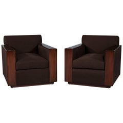 Pair of Modern Art Deco Inspired Club Chairs