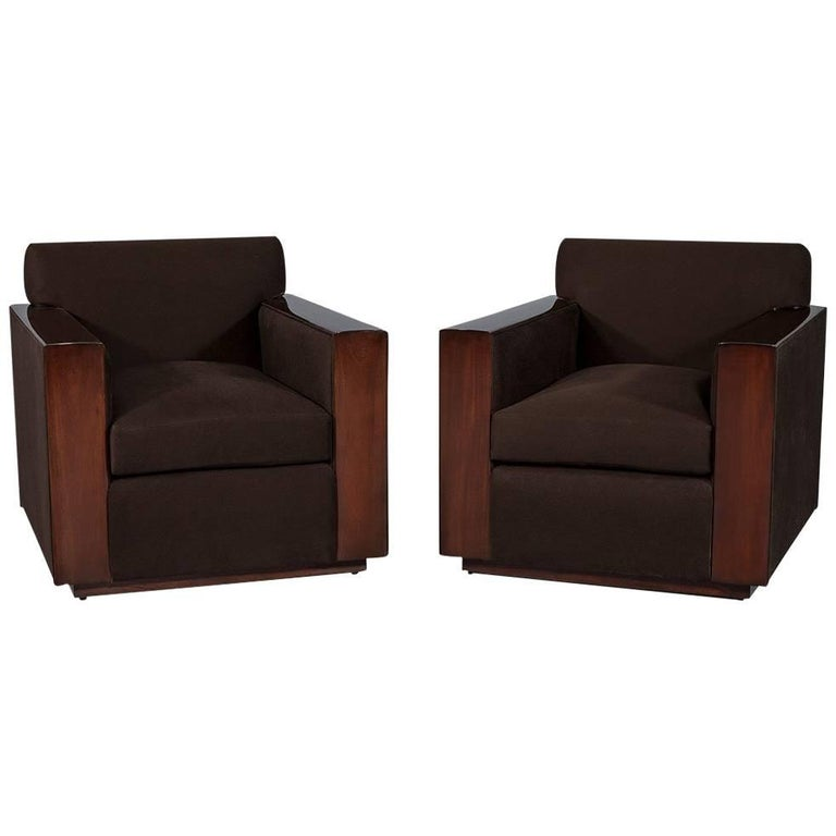 Pair Of Modern Art Deco Inspired Club Chairs For
