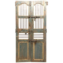 Pair of Painted Indian Gated Doors