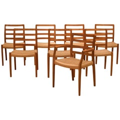 Danish Set of Eight Teak Moller Dining Chairs Model 85
