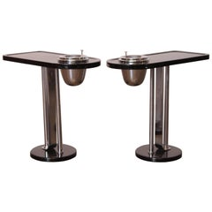Machine Age Art Deco Wolfgang Hoffmann Smoker Tables for Howell, Signed Pair