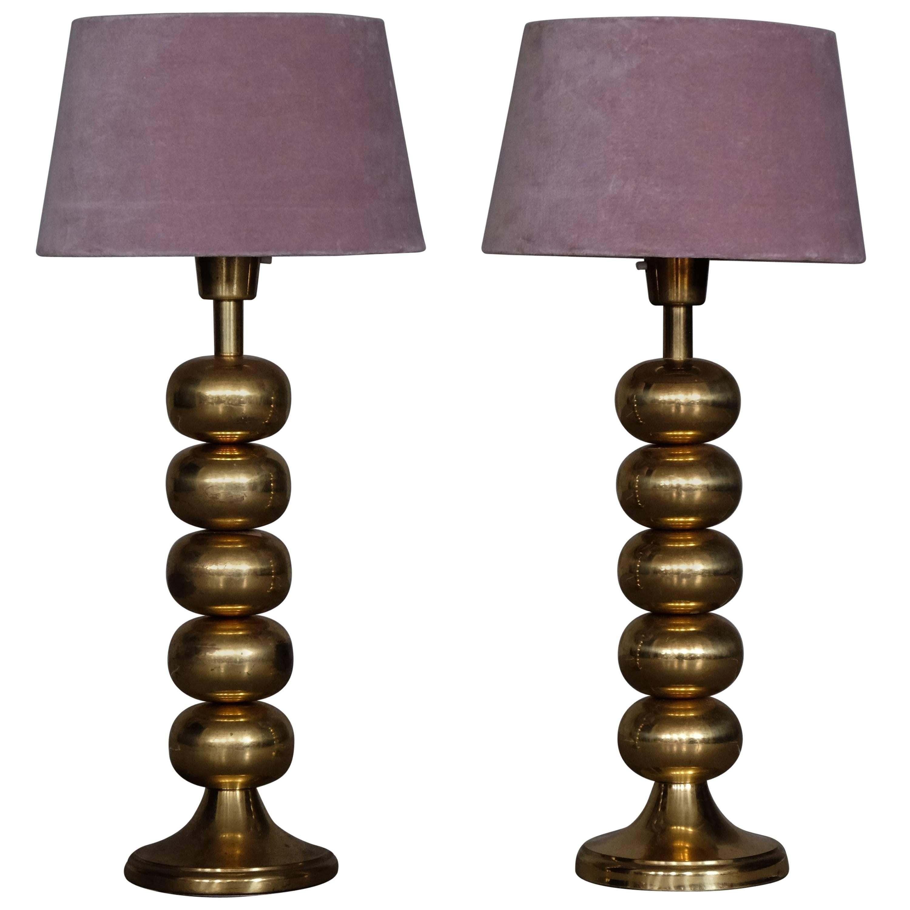 Pair of Brass Table Lamps by Aneta, Sweden, 1960s