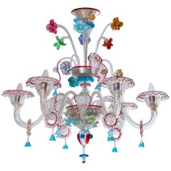 Italian Chandelier in Ruby Refinished in Murano Blown Glass, Italy 1990s
