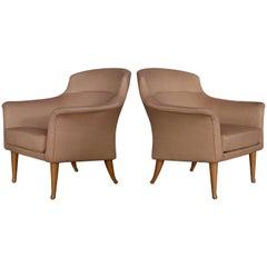 Pair of Kerstin Hörlin-Holmquist Easy Chairs Model Greta, 1950s