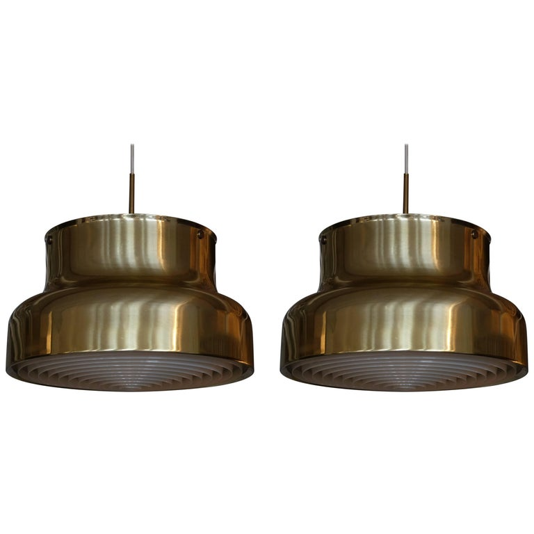 Pair of Large Bumling Ceiling Pendants in Brass, Sweden, 1960s