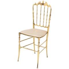 Italian Mid-Century Modern Brass Chair by Chiavari, 1950s