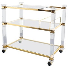Romeo Rega Bar Cart Table Lucite Glass Gold Brass, 1970