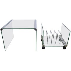 Glass Side Table with Magazine Rack from Galotti & Radice, Italy, 1970s