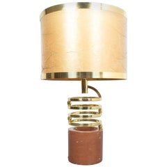 Willy Rizzo Adjustable Table Lamp for BF Red Marble Brass, 1970