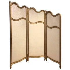 Carved Giltwood French Three Fold Vanity Screen