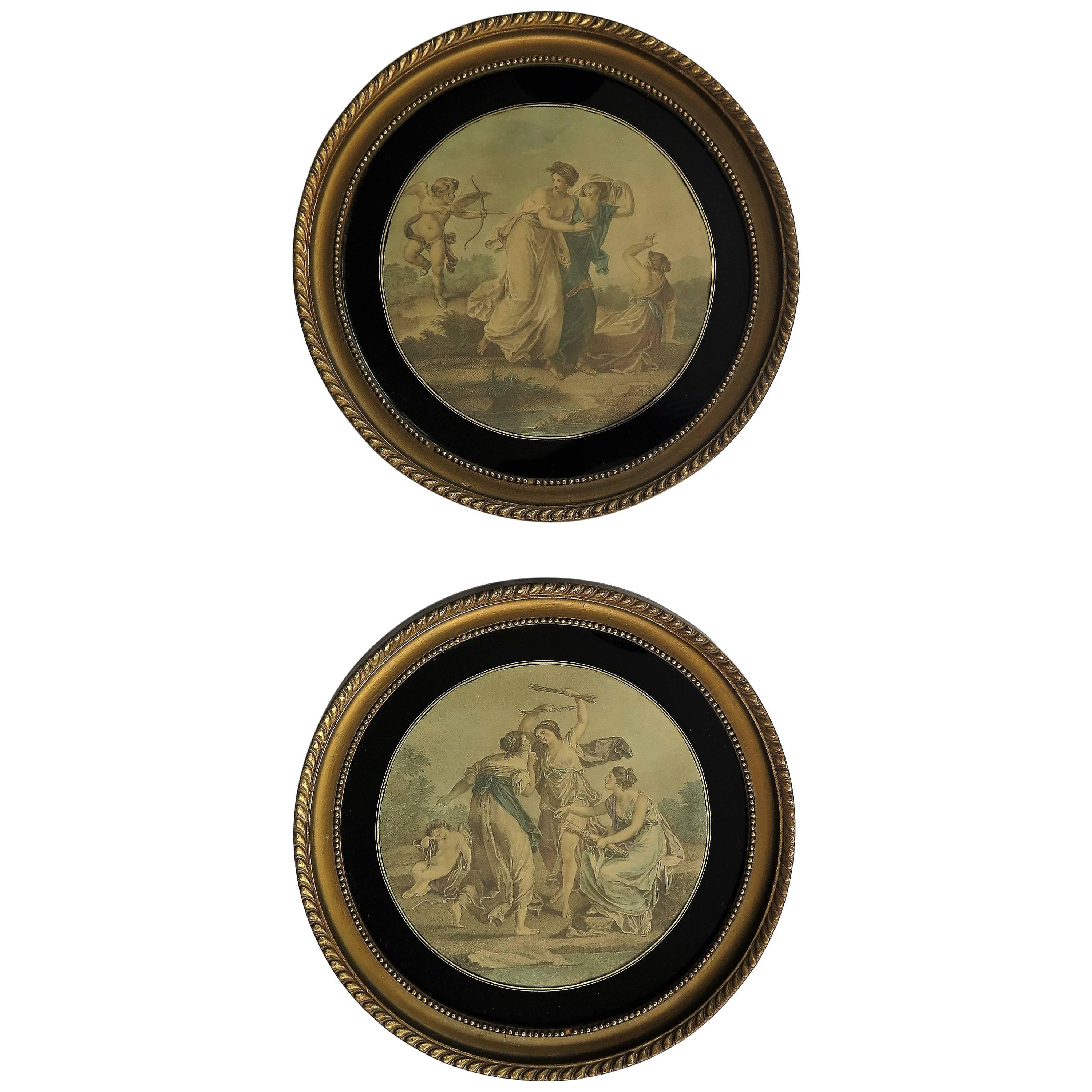 Pair Framed Colored Engravings or Prints after Angelica Kauffmann, London Label