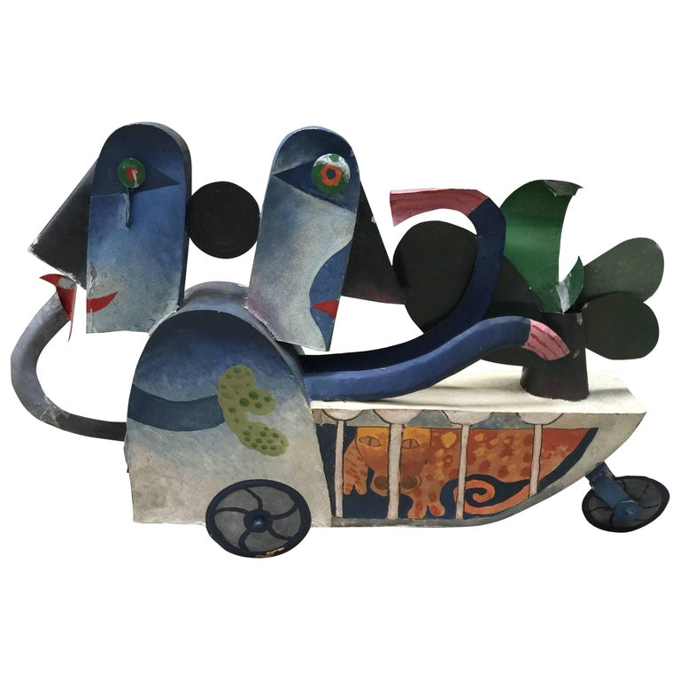 Jean Clerté (1930- ) Painted Sculpture, Signed and Dated 75