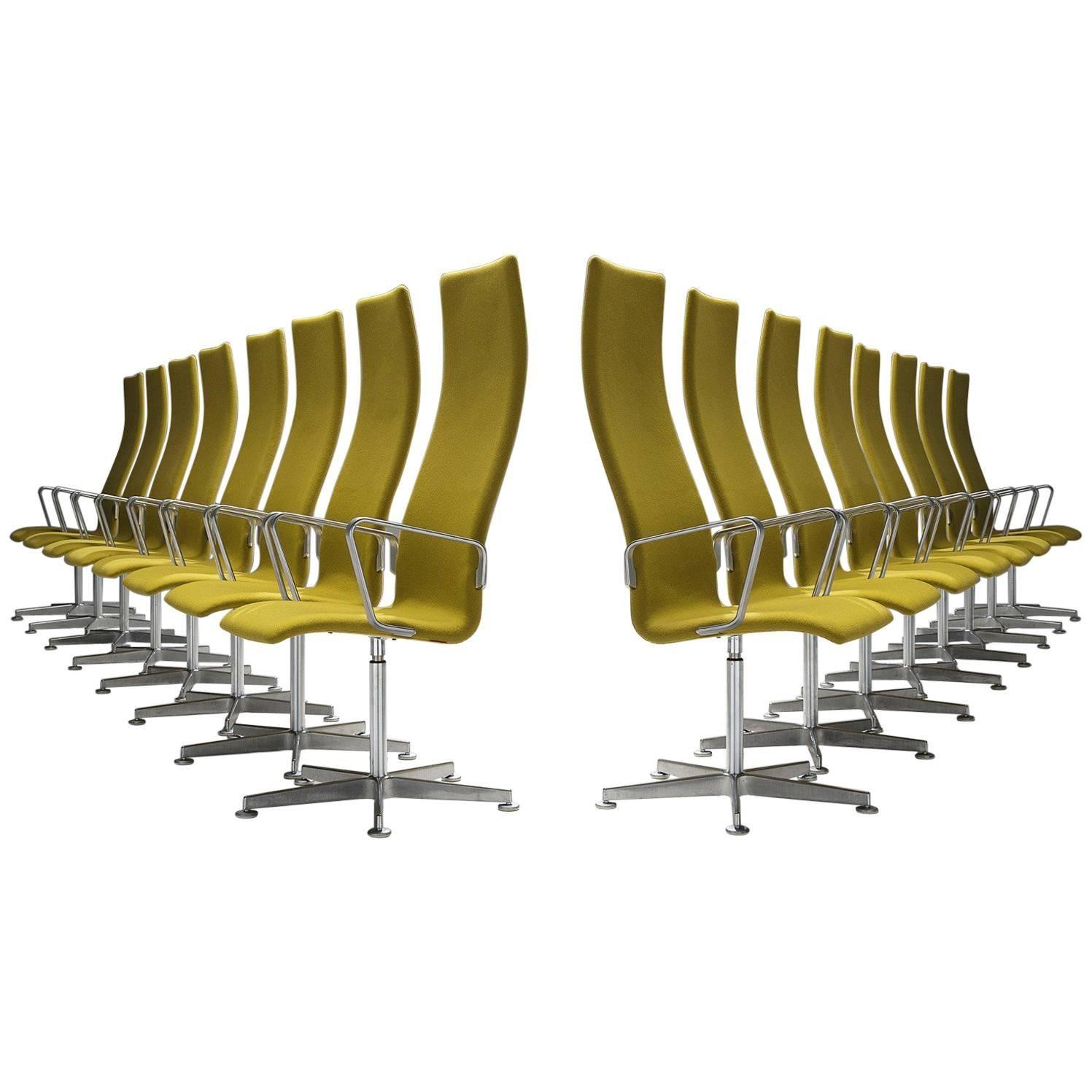 Set Of 16 Arne Jacobsen High Back U0027Oxfordu0027 Swivel Chairs For Fritz Hansen