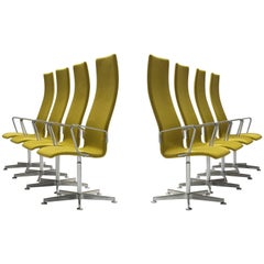Eight Arne Jacobsen High Back 'Oxford' Swivel Chairs for Fritz Hansen