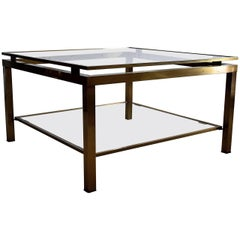 Maison Jansen Mid-Century Modern Brass Coffee Table