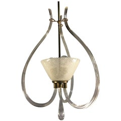 "Adorable Pendant Chandelier ""Reticello"" by Venini, Murano, 1940s"