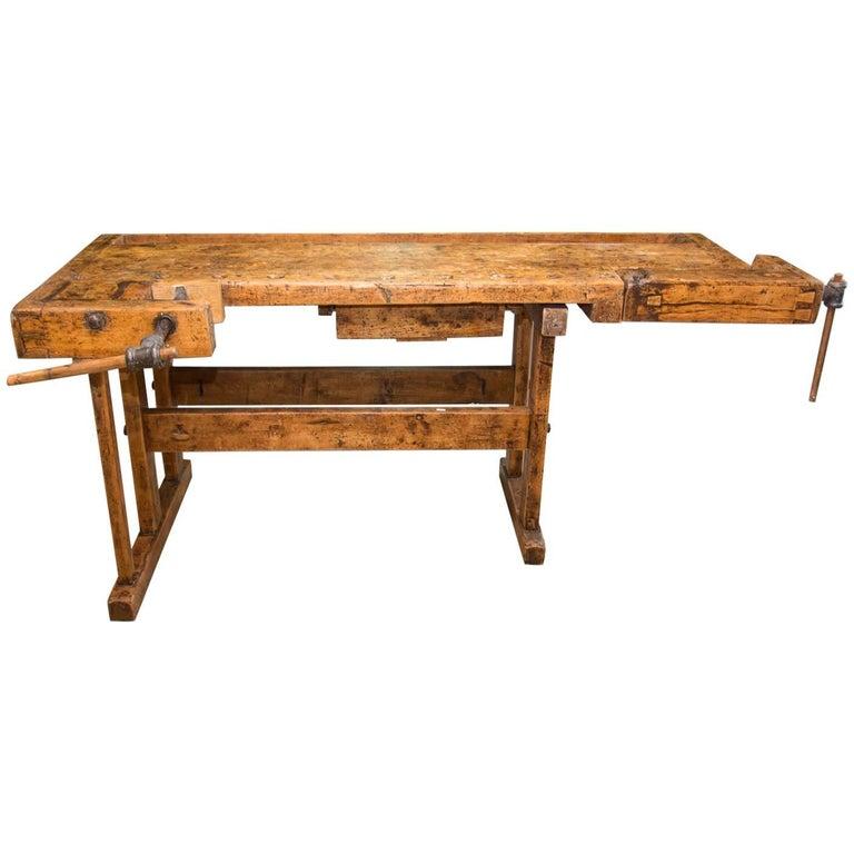Antique Oak Carpenters' Workbench, Central Europe, 1920s