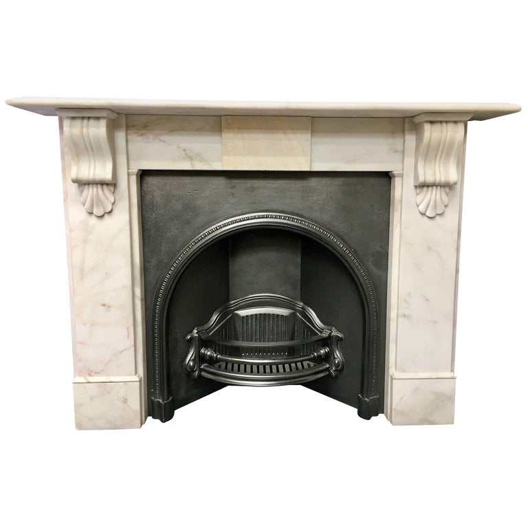 Period Marble Corbel Fireplace And Cast Iron Insert Surround For